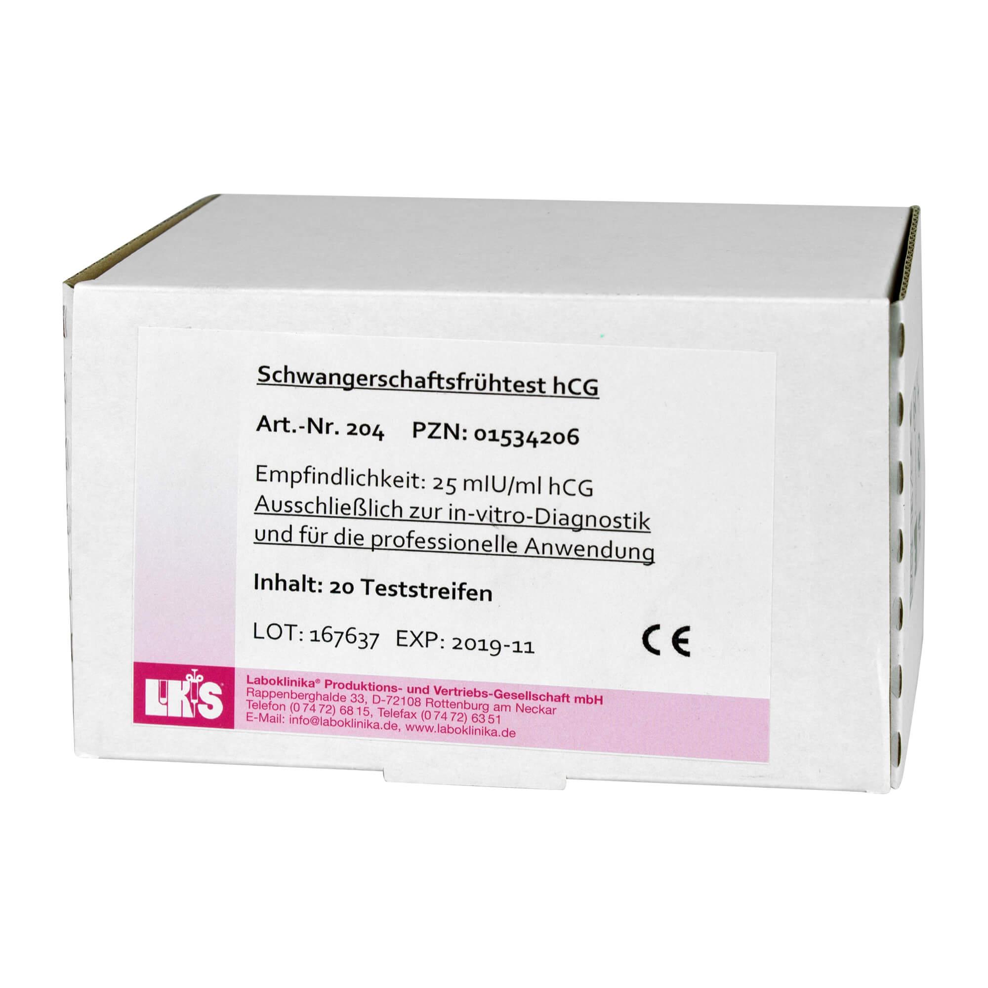 Schwangerschaftsfrühtest Urin hCG Teststreifen