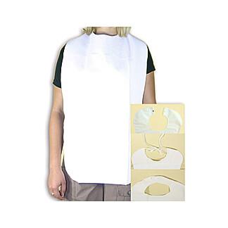 Lätzchen Erwachsene Folie Frottee weiß mit Auffangtasche