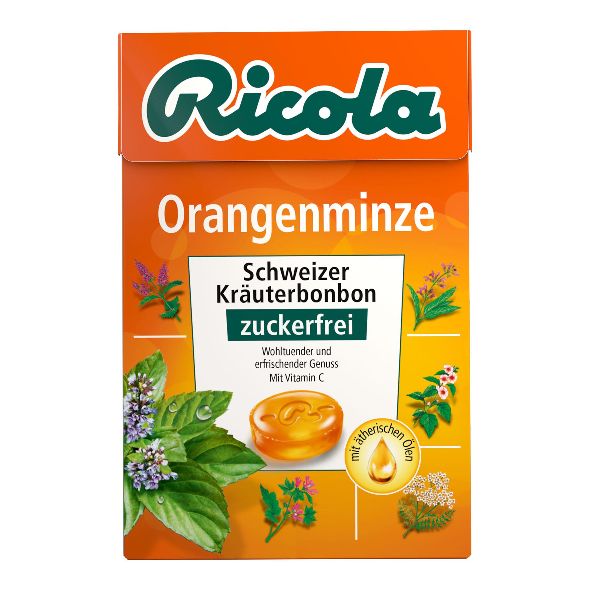 Ricola Box Orangenminze Bonbons ohne Zucker