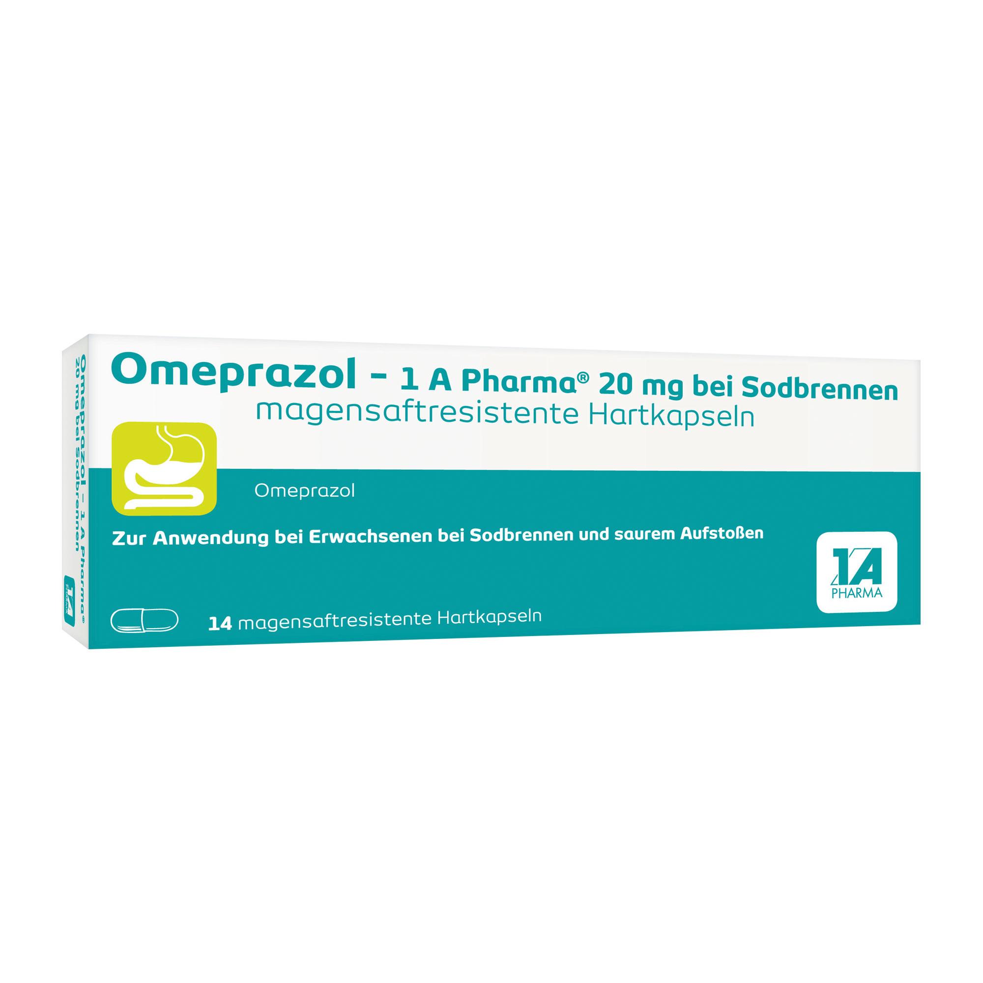Omeprazol 1A Pharma 20 mg bei Sodbrennen Msr.kaps.