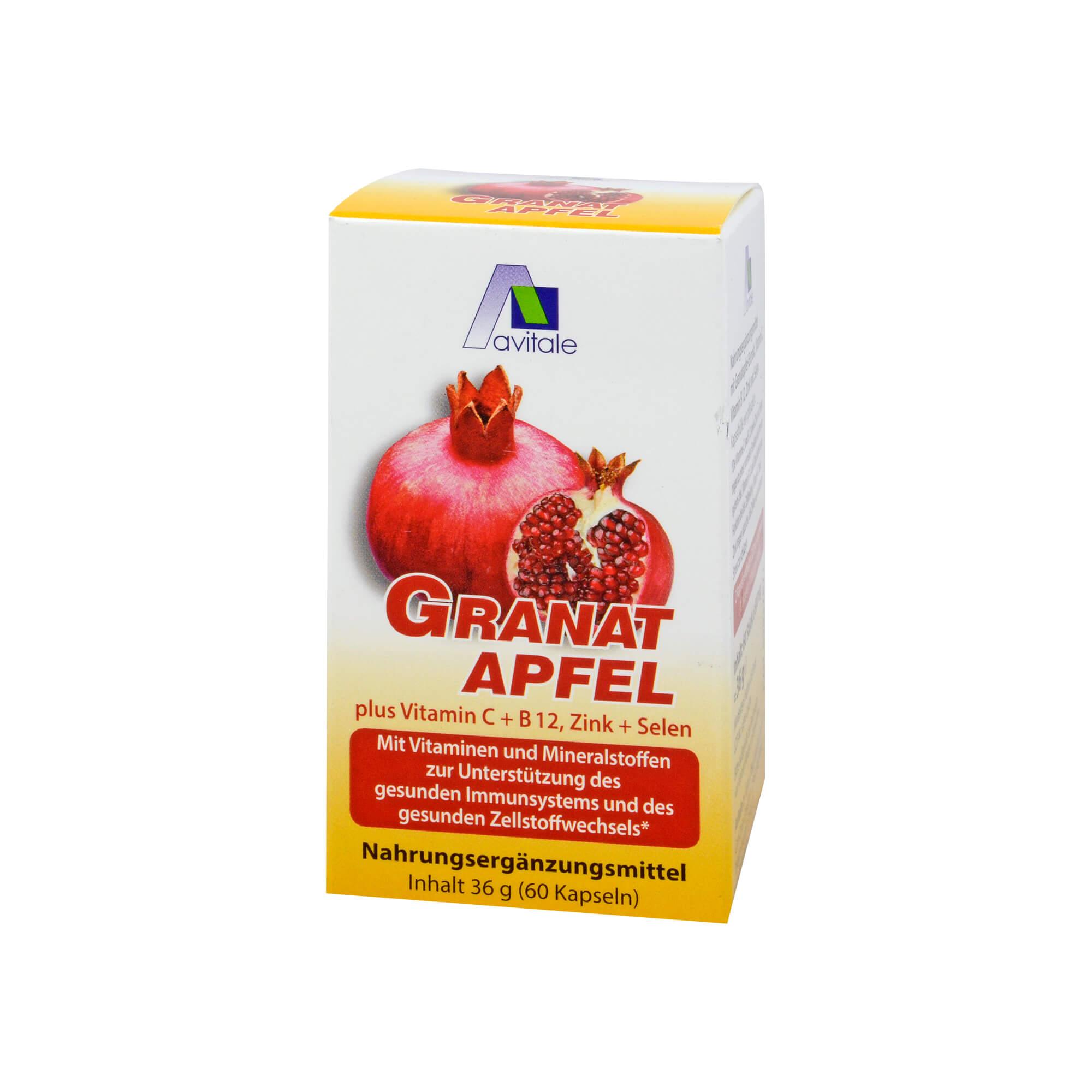 Granatapfel 500mg + Vitamin C + B12 + Zink + Selen