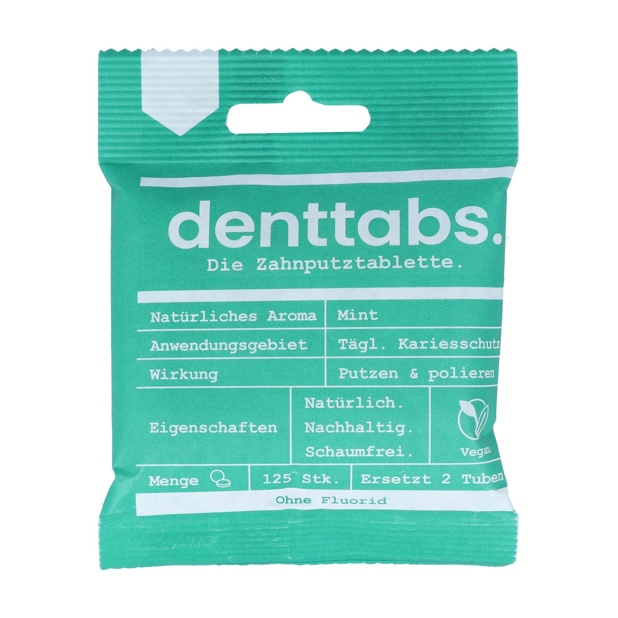 Denttabs Zahnputz-Tabletten Stevia-Mint flouridfrei