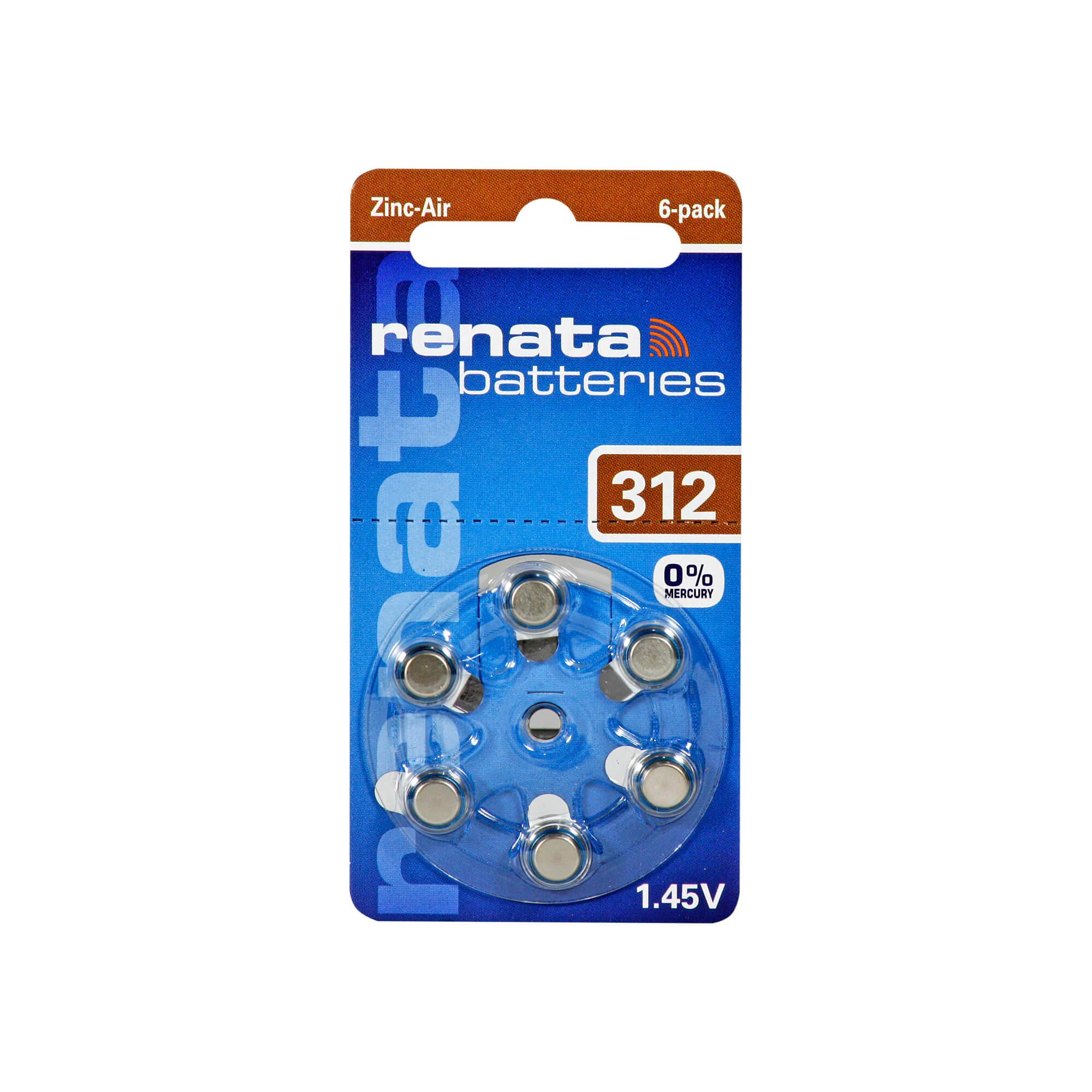 Renata Hörgerätebatterie ZA 312 DP6 0% HG