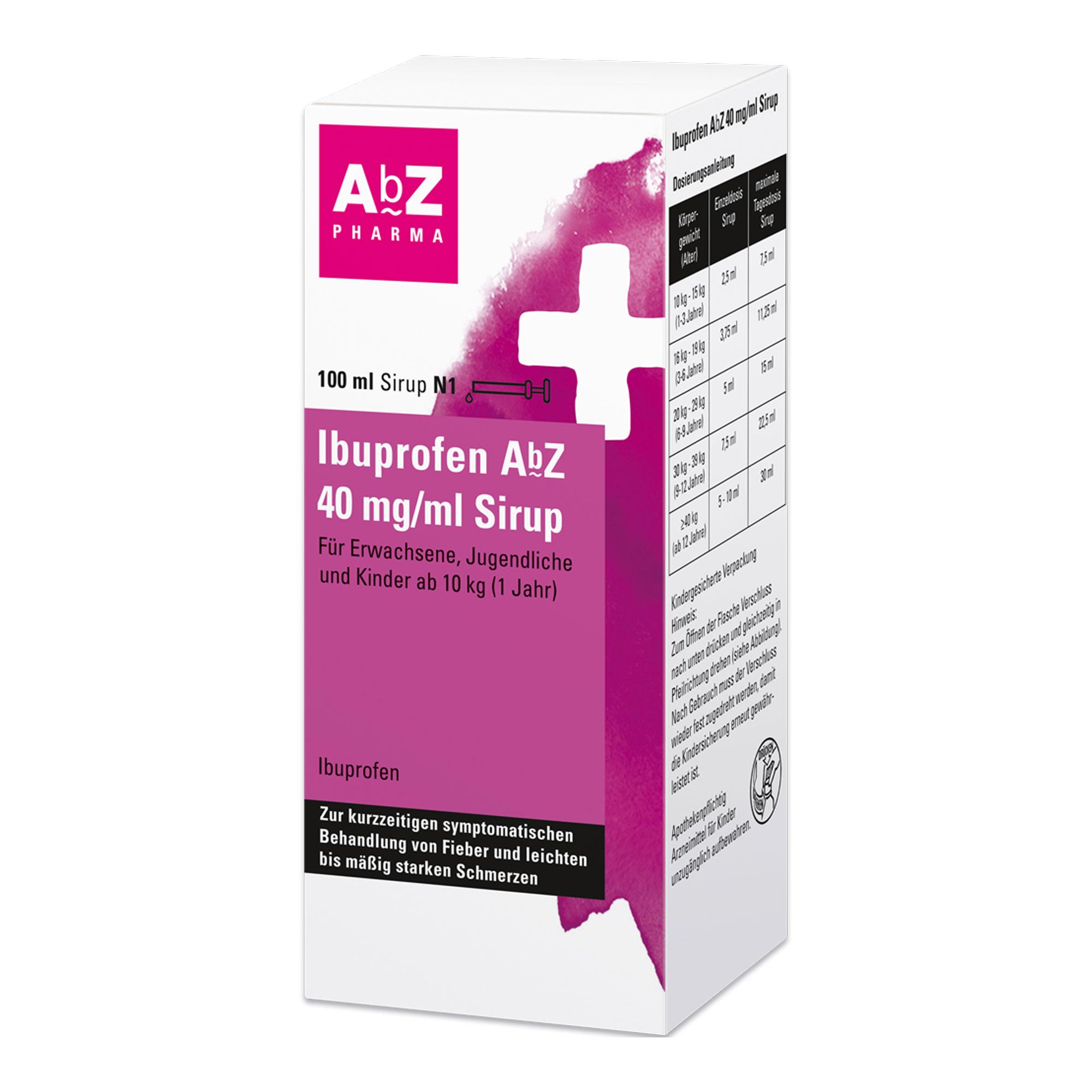 Ibuprofen AbZ 40 mg/ml Sirup für Kinder ab 10kg