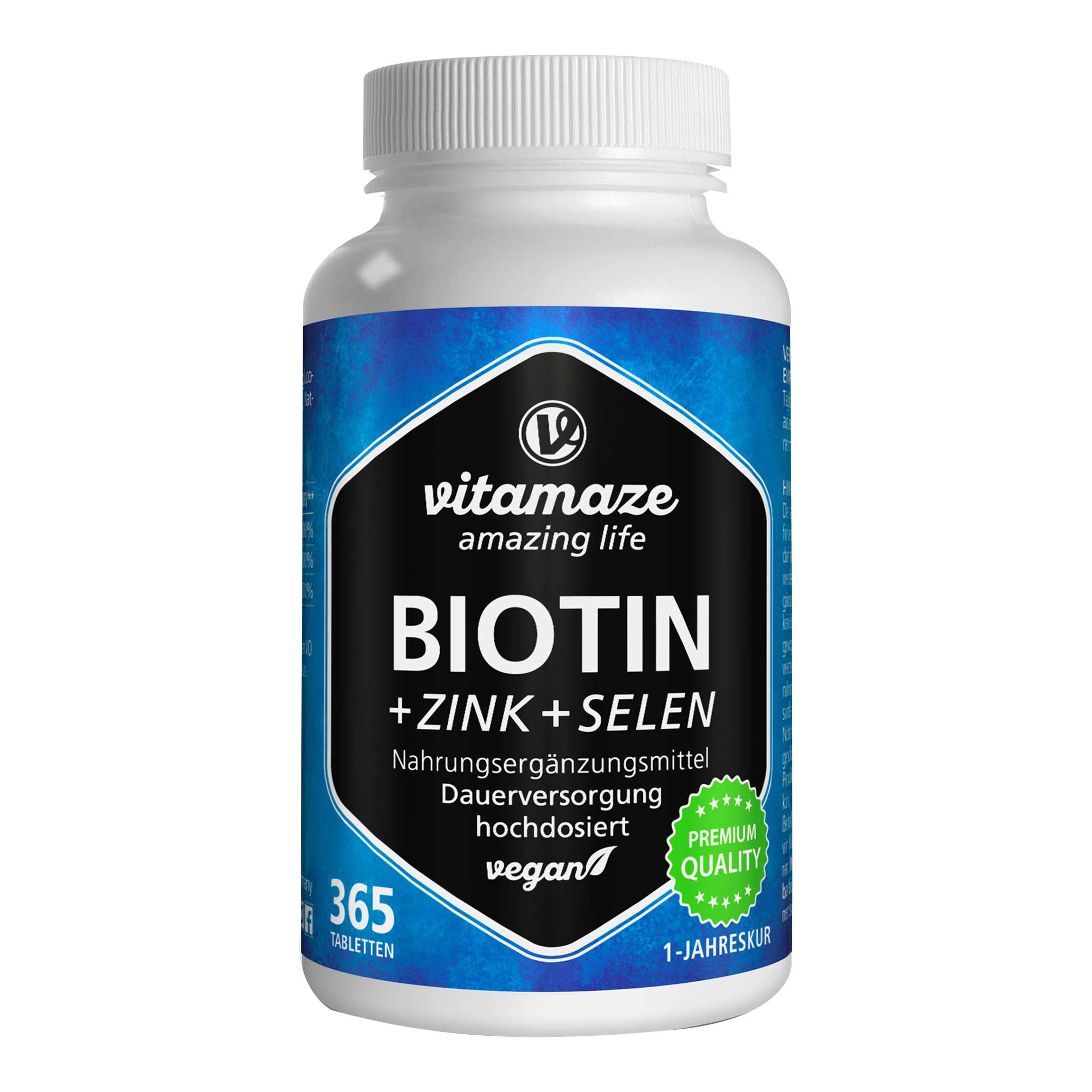 Biotin 10 mg hochdosiert+Zink+Selen Tabletten