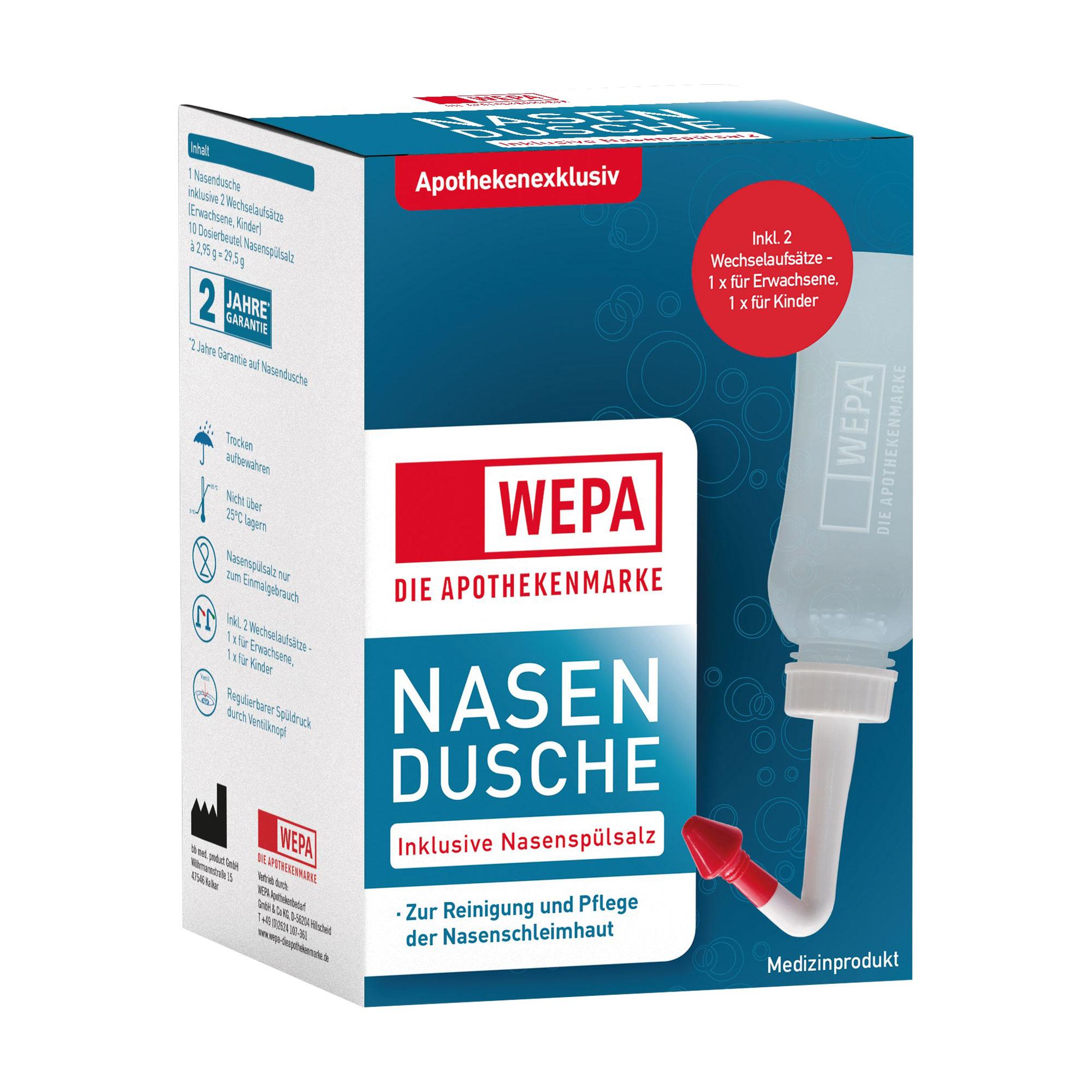 Wepa Nasendusche mit 10 Beuteln Nasenspülsalz