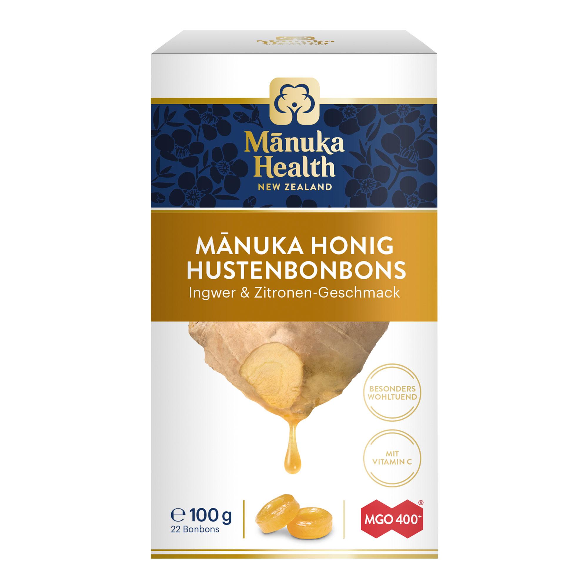 Manuka Health MGO 400+ Lutschbonbons Ingwer-Zitrone