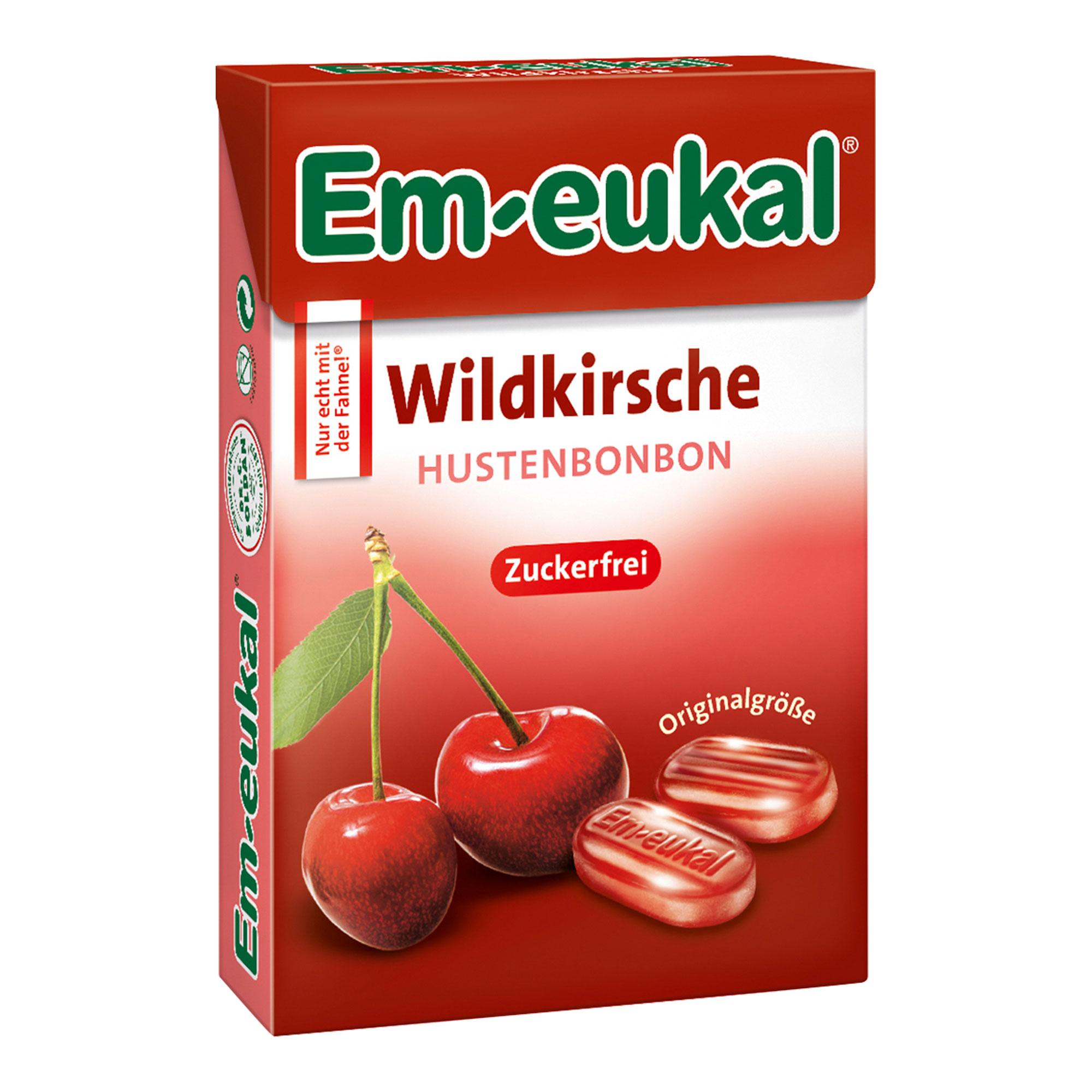 Em-eukal Wildkirsche Bonbons Box zuckerfrei