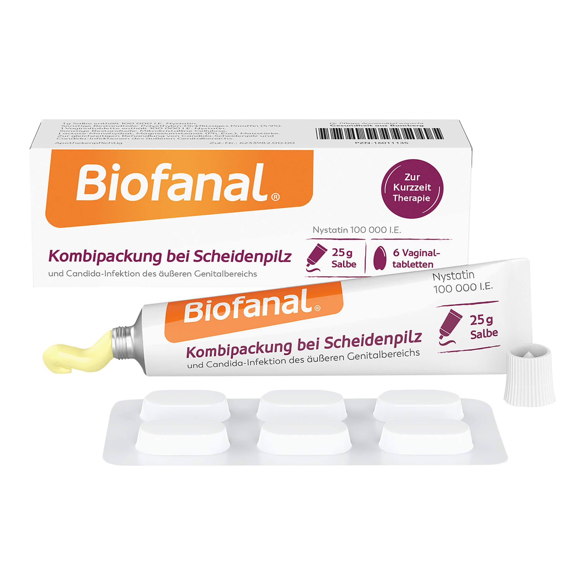 Biofanal Kombipackung bei Scheidenpilz Salbe+Vaginaltabl.