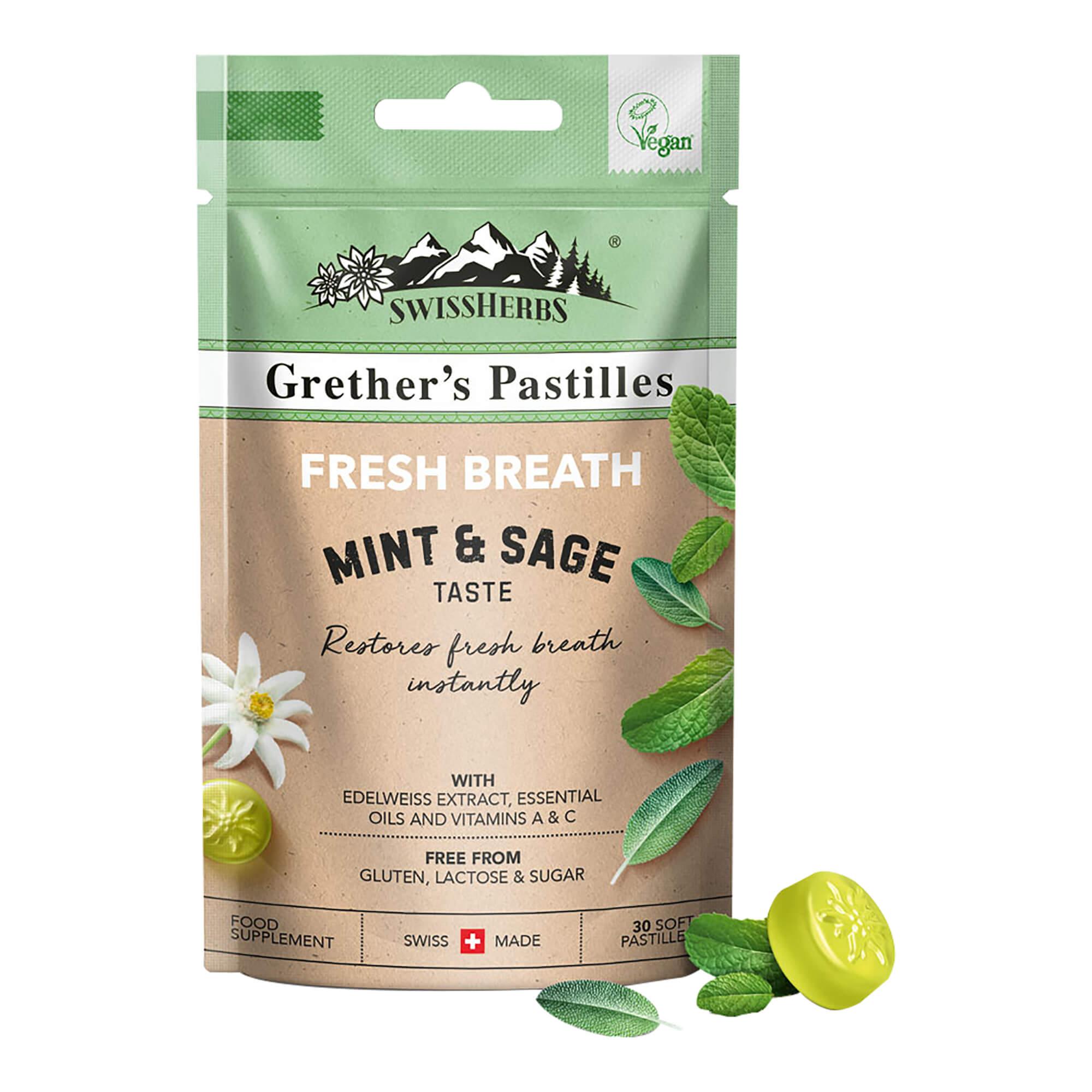 SwissHerbs Grether's Pastilles Fresh Breath Minze & Salbei
